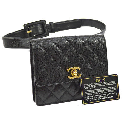 668bf00fa7a1e0 Auth CHANEL Quilted CC Logos Chain Bum Bag Black Caviar Leather Vintage  AK19560