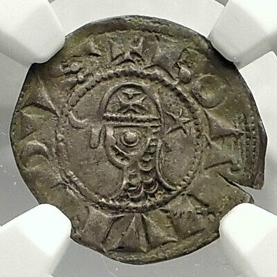 CRUSADERS of Antioch BOHEMOND III Byzantine Time Silver Coin CROSS NGC i76577