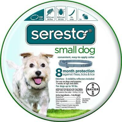 NEW Seresto Flea and Tick Collar for Small Dogs, Up To 18lbs, 8 Month Prevention