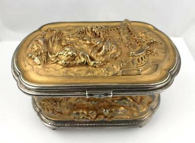 French XIX Antique T. HINGRE LEOPOLD OUDRY Gilt & Silvered Bronze Jewelry Casket