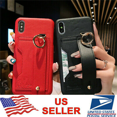PU Leather Wrist Strap Card Holder Case Cover For iPhone XS Max XR X 8 7 6 Plus
