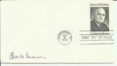 HARRY TRUMAN #1499 INDEPENDENCE, MO 5/8/73 AUTOGRAPHED BY 1st. LADY BESS TRUMAN