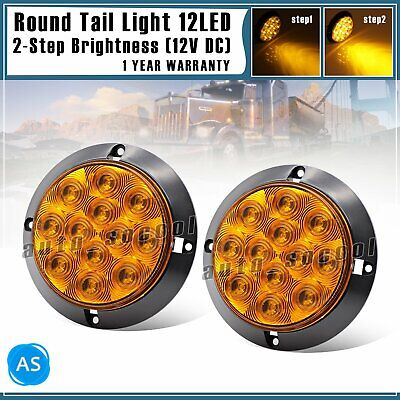 "2x Waterproof Amber 12 LED 4"" Round Signal Turn Trailer Tail Light Truck RV 12V"