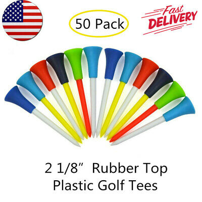 "Rubber Top Plastic Golf Tees 50 Pack 2 1/8"" 54mm Various Colors Soft Cushion Tip"