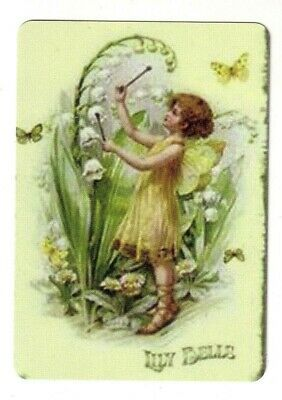 Beautiful  Fairy Girl and Lilly of the Valley   - Wide Linen Swap Playing Card
