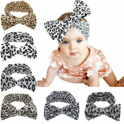 Baby Girls Big Bow-knot Leopard Headbands Turban Hairband Kids Head Wrap Stretch