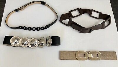 Lot Of 4 Chico's Belts Black, Brown And Gold Sz Small