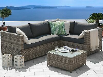 Classic Rattan Garden Set Corner Sofa Coffee Table Glass Top Wicker Cushions Avo