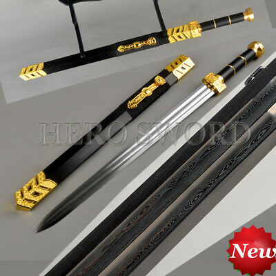 Gold Ru Yi Chinese Jian High Quality Folded Steel Full Tang Sword Double Groove