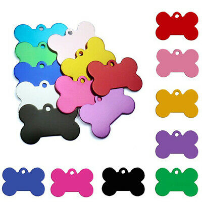 10Pcs Bone Pet ID Tag Dog Puppy Name Tags Laser Engraved Etched Aluminium Sight
