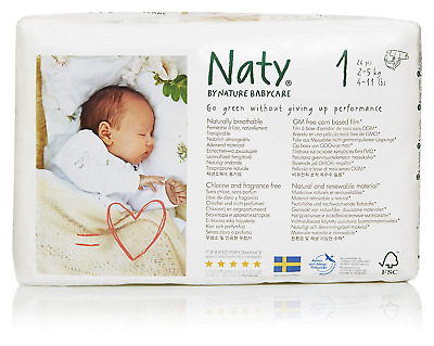 Naty by Nature Babycare Newborn Size 1 ECO Nappies - 4 x Packs of 26 104 Nappies