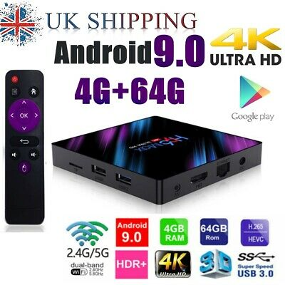 2019 H96 MAX RK3318 Android 9.0 4G+64GB Wifi Quad Core 4K Smart BT 4.0 TV Box UK