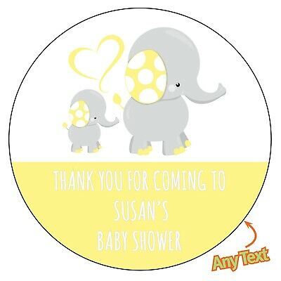 48 x Personalised Baby YELLOW Shower Mommy Elephant Stickers label Party bag 830