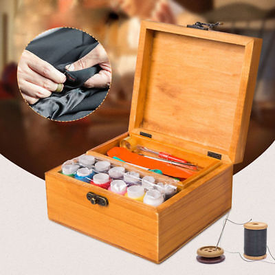 Wooden Sewing Storage Basket Box Gift Set Accessories Sewing Tool Kit Case Box