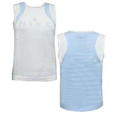 Nike Boys Active Training Tank Top Youths Junior Vest Blue White 219420 101 A57C