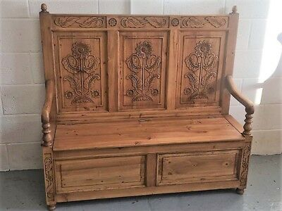 Solid Old Wood Pine Monks Bench Pew Settle With Storage
