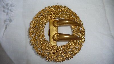 #511  vtg BELT BUCKLE Women`s Gold tone Brass  ? Art Nouveau Victorian 2 1/2""