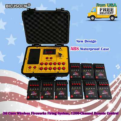 Bilusocn 36 Cues Fireworks Firing System 300M distance remote Control Equipment
