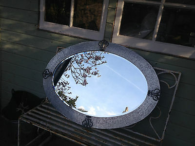 Arts & Crafts Mirror in Hammered Pewter - circa 1905-10 (37in x 27in Oval) Large