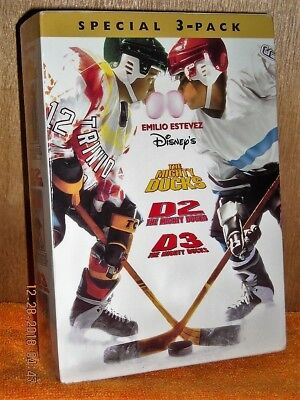 The Mighty Ducks Trilogy Parts 1, 2, and 3 Boxset (DVD, 1996) NEW DISNEY Emilio