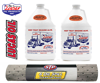 2 x US GALLON Lucas Heavy Duty Stabiliser Oil Treatment & 6 STP Oil Spill Mats