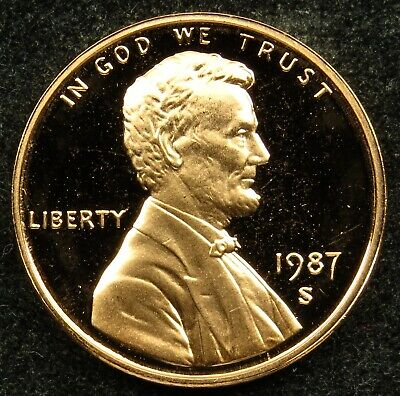 1987 S Deep Cameo Proof Lincoln Memorial Cent Penny (B04)