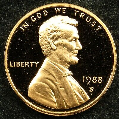 1988 S Deep Cameo Proof Lincoln Memorial Cent Penny (B01)