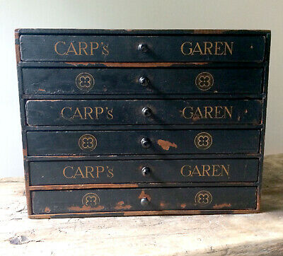 Antique Dutch Haberdashery Embroidery Thread Drawers Shop Advertising Display