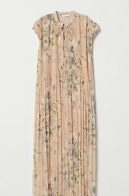 68aa972ca3cc NWT - H&M Conscious Popular LIGHT BEIGE FLORAL MAXI PLEATED LONG DRESS,  Size 2