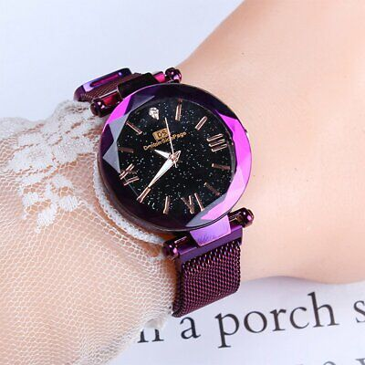 Starry Sky Belt Watch Magnet Strap Buckle Women Stainless Casual Wristwatch Gift