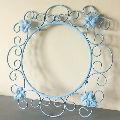 Large Vintage Pale Blue Wrought Iron Picture/Mirror Frame; Scrolls/Ivy 50 cm