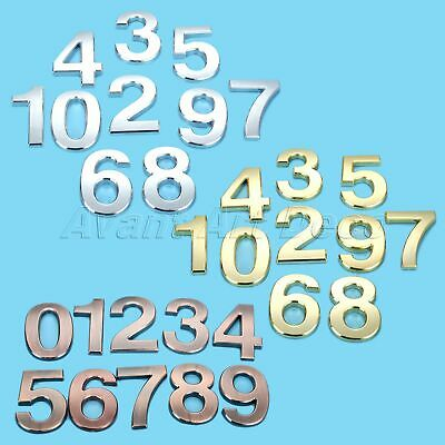 Self Adhesive Plastic Door Numbers 3D 10cm Plate Plaques Sign Stickers Polished
