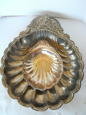 """Vintage 2 Set Silver Plate Shell Serving Dishes Large 14"""" Small Footed 7 1/2"""""""