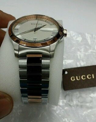 c595e05dc86 Gucci G-Timeless Silver Dial Stainless Steel and Pink Gold Unisex Watch  YA126447