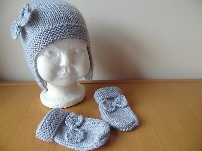 Hand knitted baby girls hat and mittens set, silver grey, age 6-9 months