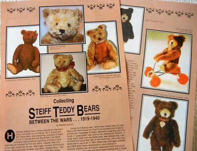 6p History Article + Pics -  Antique Early Steiff Teddy Bears 1919-1940