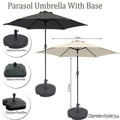 2M Cream/Black Round Portable Parasol Umbrella w/Base Tilt Handle Patio Garden