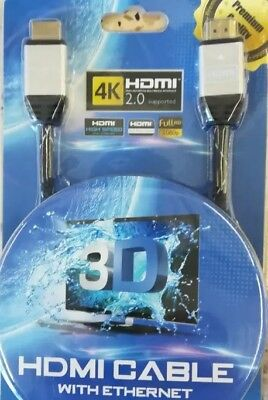 CABLE HDMI FULL HD 4K 3D BLU RAY PS4 XBOX 2.0 LCD PC ORDINATEUR 1920x1080P 3M
