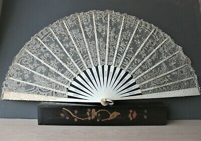 Large Antique Chinese Victorian Lace And Carved Large Fan