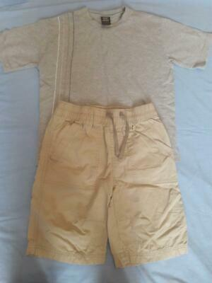 Nearly New Boys 6 Years Next Grey T-Shirt & Beige Shorts Summer Clothes Bundle