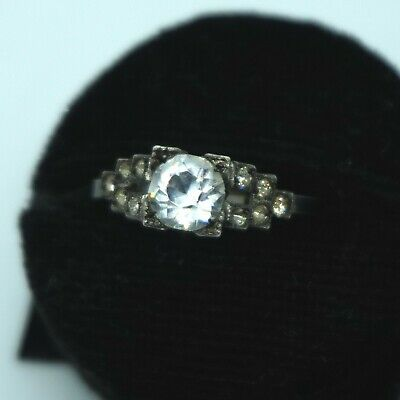 STUNNING Art Deco Vintage Sterling Silver Diamond Paste Stone Wedding Ring sz6.5