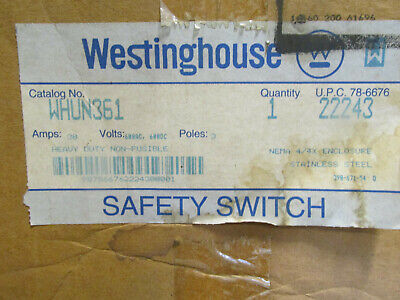 Westinghouse WHUN361 Stainless Steel Disconnect 30 amp 600V Non-fusible 4/4X