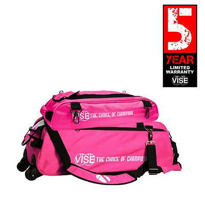 Vise Pink 3 Ball Tote Bowling Bag With Shoe Pouch