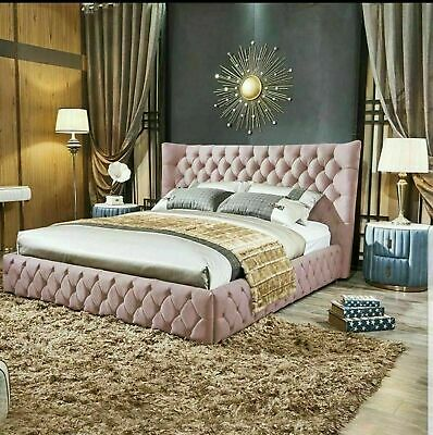 Winged bed frame upholstered double - king - super king winged -scroll - sleigh