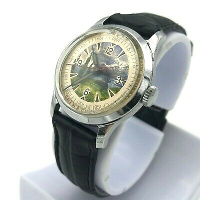 Pobeda Pictured Dial Mchz1 Painter USSR Vintage Watch Rare 1955 Men's Tested