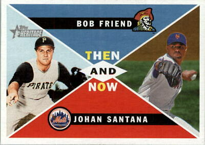2009 Topps Heritage Then and Now #TN6 Bob Friend/Johan Santana - NM-MT