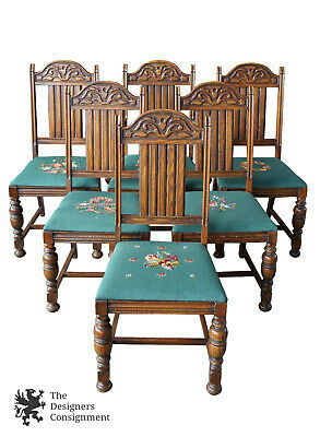 6 Antique Jacobean Spanish Revival Oak Carved Dining Chairs Needlepoint Seat