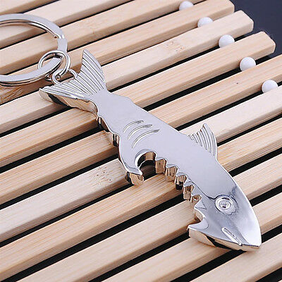Creative Shark Keychain Bottle Opener Metal Key Ring Beer Cap Lifter Modern TDO