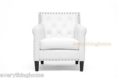 Modern White Lounge Club Arm Accent Chair Faux Leather Designer Nail Head Trim