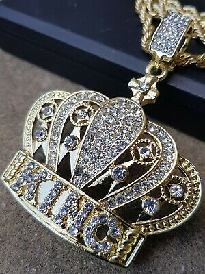 18 Ct Gold Plated Iced Out King Crown Rich Rich Hip Hop Bling Bling Jewellery